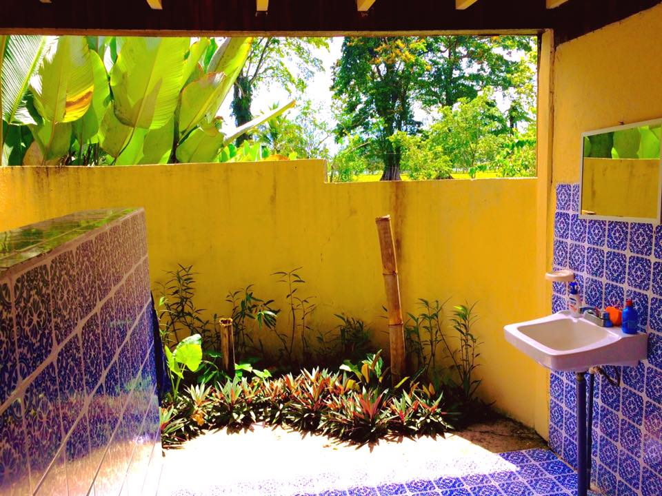 Our open air bathroom with a view